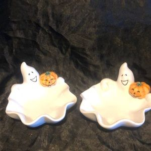 Two Halloween decorative candy dish